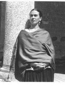 Frida Kahlo wearing a rebozo